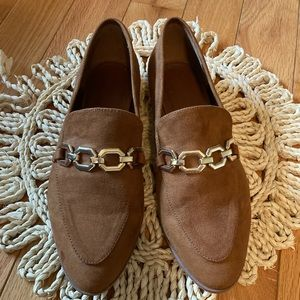 H&M Size 41 Pointed Toe Loafer Suede Flats Brown
